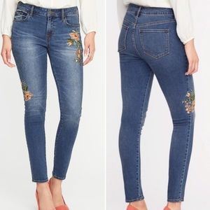 Old Navy Floral Embroidered Mid-Rise Rockstar Jean